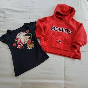 NFL Patriots Hoodie Red Sox Peanuts Tee Lot, 3T